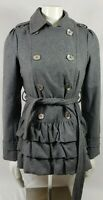 EXPRESS Silver Button gray Double Breasted Fit & Flare Wool Blend Coat Sz Small