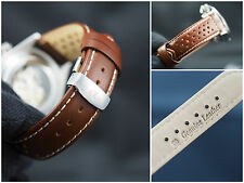Alpha genuine leather watch strap, band 20mm brown perforated deployment clasp