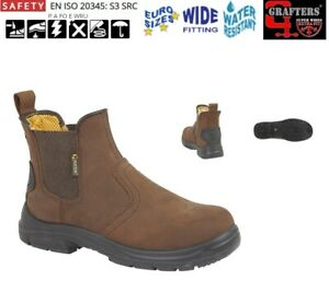 MENS SAFETY BOOTS GRAFTERS BROWN LEATHER SUPER WIDE FIT CHELSEA DEALER SIZE 6-13