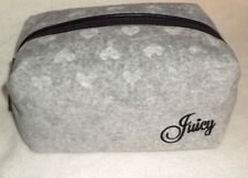 NWT Juicy Couture Large Velour Cosmetic Make Up Travel Case Heather Gray