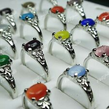 30pcs Wholesale Jewelry Lots Silver P Natural cat eye stones mix fashion Rings