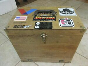 Vintage Slot Car Pit Box With Contents Cars And Controller Wood Carrying Case