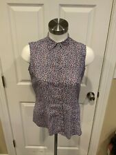 """Brooks Brothers """"346"""" Blue Floral Print Button-Up Sleeveless Top, Size 2"""