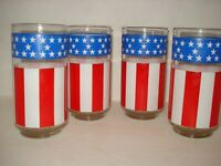 Vintage Libbey Stars and Stripes USA Glass Tumblers lot 4 Patrotic
