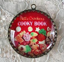 COOKIE COOK BOOK ~XL ROUND 35mm PENDANT Filigree VINTAGE Betty Crocker COOKBOOK