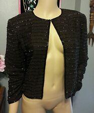 Blacktie Oleg Cassini Beaded Brown Gold Black Zig Zag Silk Dress Jacket S