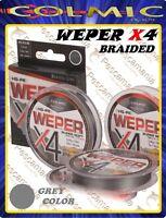 Trecciato colmic WEPER X4 fili multifibra 100 Yards - 92mt High-Grade PE GREY
