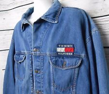 VTG 90s TOMMY HILFIGER Mens XXL Blue Jean Denim Jacket FLAG LOGO Front Back RARE