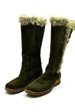 Rieker Green Suede Tall Winter Boots Faux Fur Size 40 Size 9