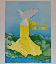 1982 Original Cuba Political Poster.Cold War Graphic Propaganda.Korea Unity.Rare