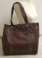 Jumbo FOSSIL Leder Tasche Shopper  Dina4  Schule Uni Bag Reise Dunkelbraun
