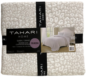 Tahari Reversible Coverlet Animal Print Jungle Taupe & White Queen Sz 92x92 new