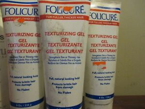 Lot of 3 Folicure Texturizing Gel,Protects Brittle Hair from damage  8 oz