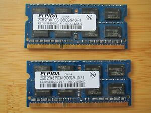 Elpida 2 x 2Gb PC3 - 10600S Laptop Memory 4Gb Total from Dell Studio 17 Laptop