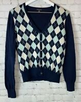 BROOKS BROTHERS Womens' Blue Argyle Cardigan Sweater Size Medium