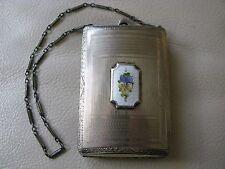 Antique Art Deco Silver T White Guilloche Card Case Dance Double Compact FMCo #2