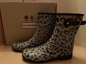 Hunter Refined Short Hybrid Leopard Animal Luna Stormy Gray Rubber Rain Boot 11