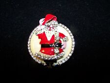 Whimiscal Vintage Lunch At The Ritz Santa Claus Sparkling Christmas Brooch VGC!