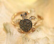 Hawaiian 14k Rose Gold 0.35Cts Brown White Black Diamond Honu Turtle Ring 7.0