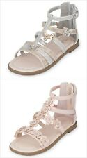 748d26ecb9f1 The Childrens Place Girls Butterfly Silver Gold Glitter Gladiator Sandals  Shoes