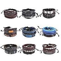#QZO Multi-Layer Handmade PU Retro Braided Bracelet Jewelry for Men and Women