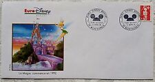 RARE 1991 EURO DISNEY ONE YEAR TO OPENING DAY SPECIAL STAMP POSTMARK ENVELOPE