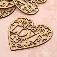 10× Wooden Shape Love Heart Wedding Hanging Decorative Craft Embellishment best