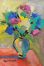 JOSE TRUJILLO Acrylic Painting Modernist Impressionism Abstract Flowers Vase COA