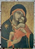 Quadretto su legno Madonna con Bambino Come da foto 17,5 x 14,8 cm Peso 120 gr