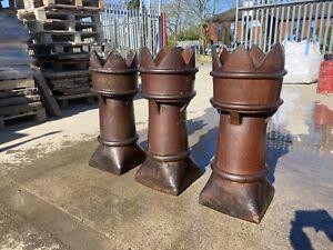 Fantastic Victorian Salt Glazed Crown Chimney Pots £150 Each