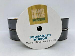 "5 Rolls Handmade Modern Black Grosgrain Ribbon 7/8"" x 21' Each Roll"