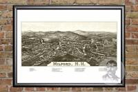 Vintage Milford, NH Map 1886 - Historic New Hampshire Art - Victorian Industrial