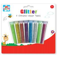 8 Assorted Colour Glitter Tubes Art & Crafts Kids Card Making Scrapbook Sparkle
