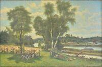 CARL AUGUST FAHLGREN (SCHWEDEN, 1819–1905) »SOMMERLANDSCHAFT« ÖLGEMÄLDE 53 x 80