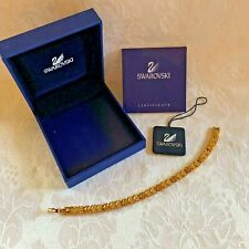 "Genuine Swarovski Crystal Swan Tennis Gold Plated Bracelet  7""-1/2"