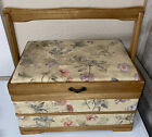 Vintage+Wood+Sewing+Basket+Organizer+Caddy+Box+Padded+Tapestry+Top+