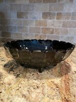Vintage -amethyst- Indiana Glass- Footed- Fruit Bowl - Garland Pattern - oval
