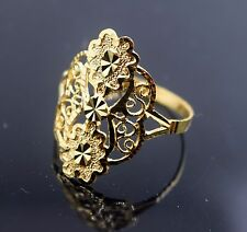 """22k Solid Gold ELEGANT Ring Flowery Design Classic Style """"RESIZABLE"""" R424"""