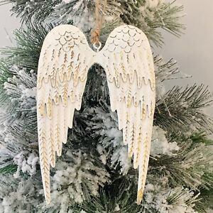 Ivory Gold Metal Angel Wings Wall Hanging Christmas Tree Decoration Xmas Decor