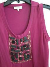 ETRO MILANO ITALY Sz L TANK TOP SHIRT Embellished Cork & Bead 2-Layer MAGENTA