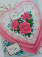 1956 Vtg PINK HEART BOX Embossed Rhinestone VALENTINE For WIFE GREETING CARD