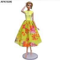 Fashion Doll Clothes For Barbie Doll Outfit 1/6 Party Gown Top Floral Midi Skirt