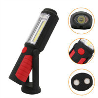Magnetic LED COB Inspection Lamp Work Light Red Hand Torch Flashlight with Hook
