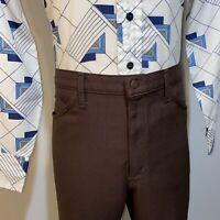 Vtg 70s LEVI'S Pants Brown DACRON POLYESTER Leisure suit Disco Retro MENS 38 31