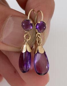 9ct Gold Amethyst Drop Dangling Earrings, 9k 375