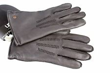 UGG MENS LEATHER TECH GLOVES BROWN 100 % LAMBSWOOL LINED LARGE