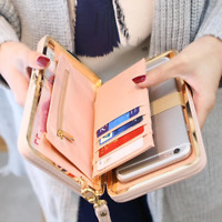 Purse bow wallet female famous brand card holders cellphone pocket PU leather wo