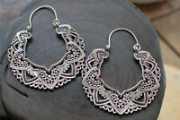 SILVER OVERLAY TRIBAL ETHNIC MANDALA SKULL EARRINGS BRASS HOOPS FREE SHIPPING A3
