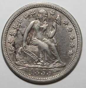 1855 Seated Liberty Dime Type 3 Arrows 90% Silver 10%  Copper *Free Shipping *