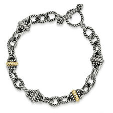 "7.5"" Link Toggle Bracelet .925 Sterling Silver 14K Gold Accent Shey Couture"